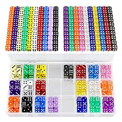 YOUSHARES 200 Pcs Multi-Color Dice Set & Storage Box Bundle – 20 Assorted Color with 10 Pcs Each, 16mm Dice with Extra Massive Capacity Organizer Box, Perfect for Board Game & Family Party