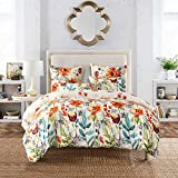 SANMADROLA Lightweight Microfiber Flower Duvet Cover Set Colorful Floral Print Pattern Boho Hotel Bedding Sets Comforter cover Color Flower Twin