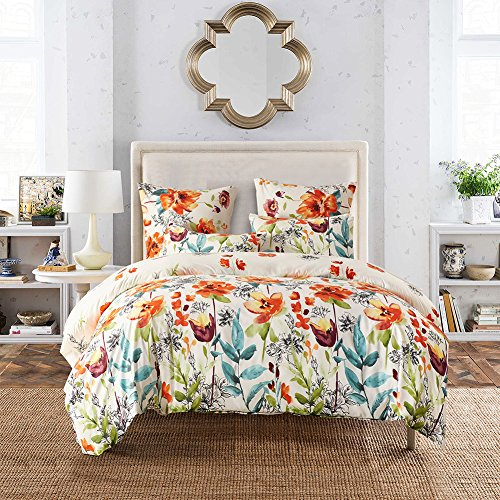 WarmGo 3 Piece Multi - Color Bedding Collection -Lightweight Polyster Microfiber Duver Cover Set, White Background Beautiful Colorful Floral Print Pattern -Full/Queen Size (Beautiful Quilts Bed)