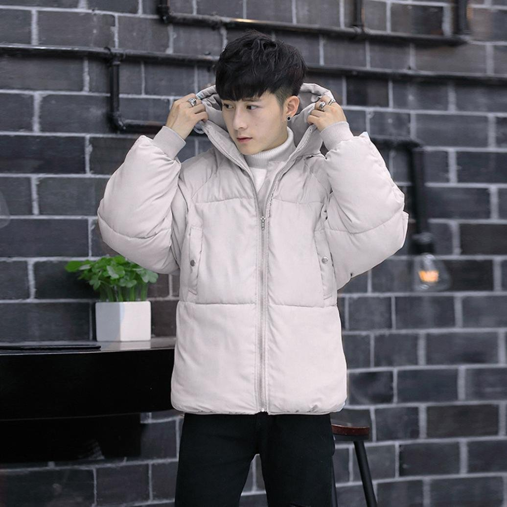 Men Warm Stand Collar Slim Winter Zip Packable Down Coat Outwear Jacket Amiley Sweatshirt men