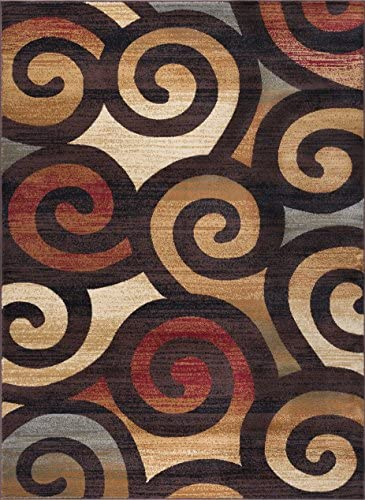 Carley Contemporary Scroll Multi-Color Rectangle Area Rug, 8 x 10