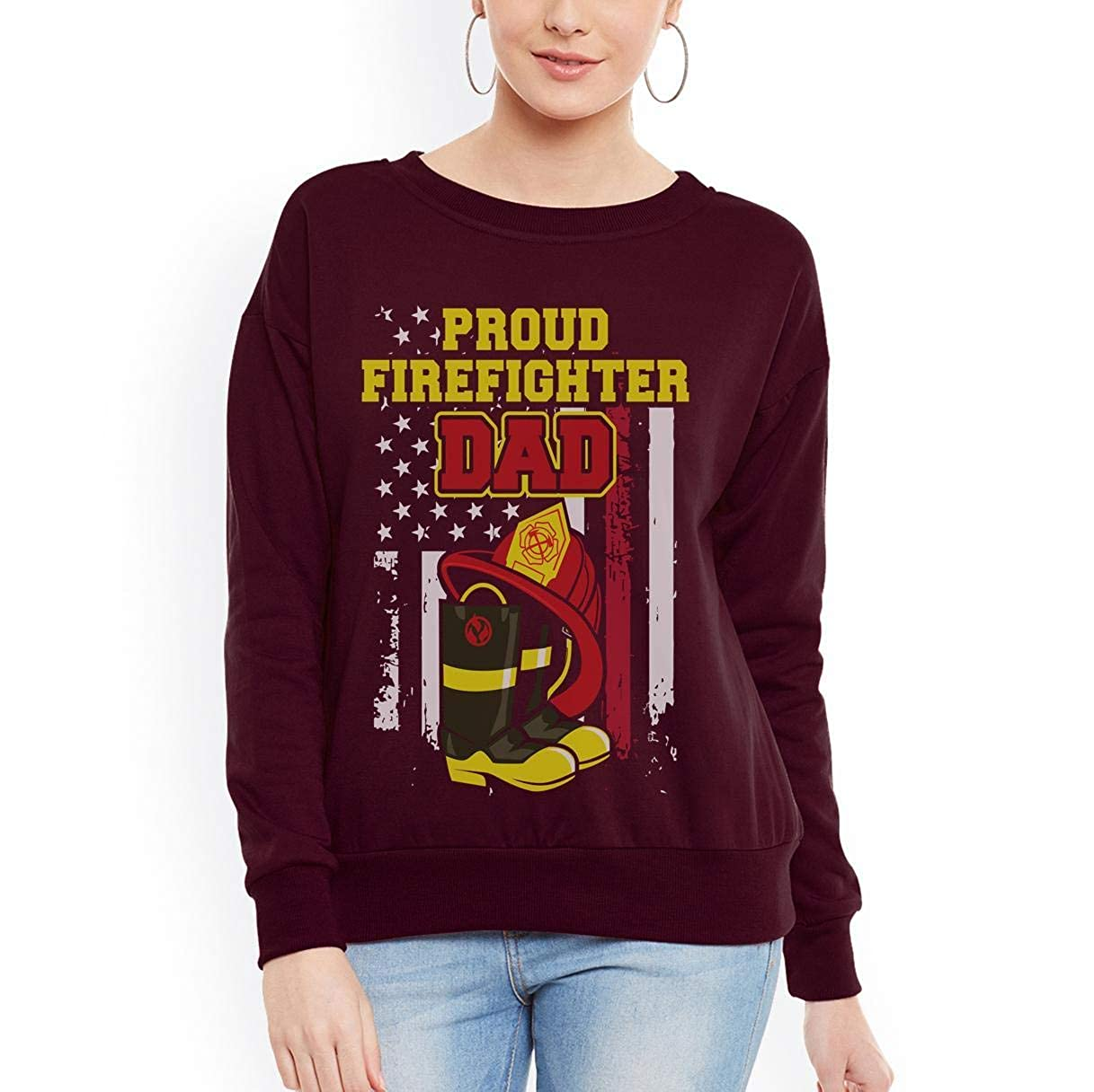 Firefighter Dad Proud Thin Red Line Father Women Sweatshirt tee
