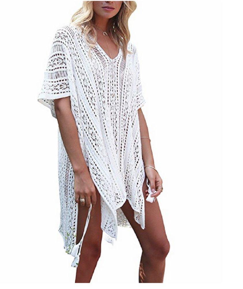4206e75f87 NFASHIONSO Womens Fashion Swimwear Crochet Tunic Cover up/Beach Dres Beige2  N0019-6 Swimsuits & Cover Ups