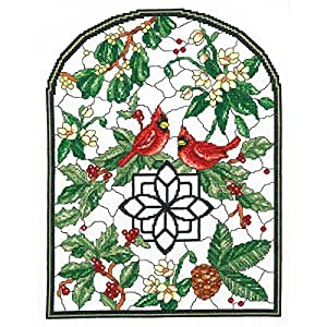 """Winter Stained Glass Counted Cross Stitch Kit-10""""X13.25"""" 14 Count"""