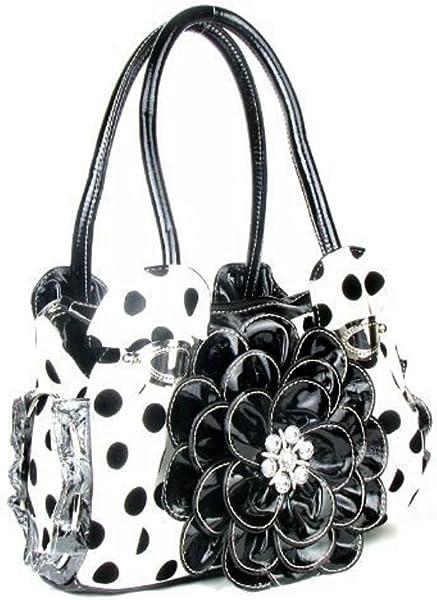 DH Polka Dot Rhinestone Flower Purse (Black)  Handbags  Amazon.com e0aef0e0f0126