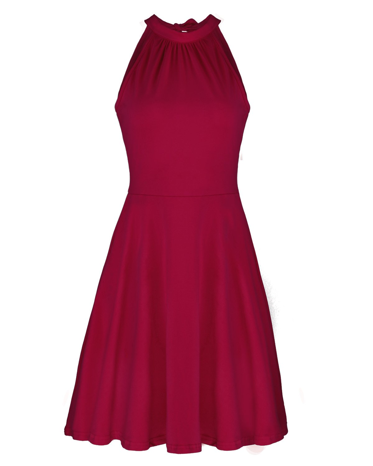 OUGES Women's Stand Collar Off Shoulder Sleeveless Cotton Casual Dress(Wine,L)