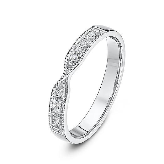 Theia 9ct White Gold 01ct Diamond Set 3mm Twist Wedding Ring