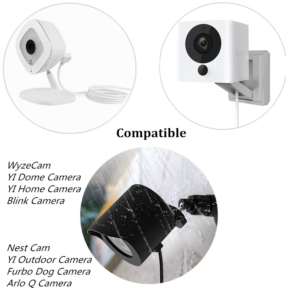 Cable de alimentación para WyzeCam, Amazon Cloud Cam, YI Dome cámara, JCO Mini Cube Cam, Arlo Q, Nest Cam, Dropcam, y Furbo Dog Camera USB a Micro USB Cable ...