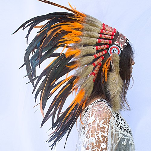 Feather Headdress- Native American Indian Inspired- Handmade by Artisan Halloween Costume for Men Women with Real Feathers - Orange (Adult Rooster Costume)