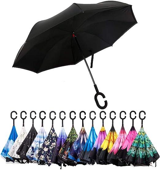 AHOMY Inverted Reverse Umbrella Mandala Constellation Windproof for Car Rain Outdoor