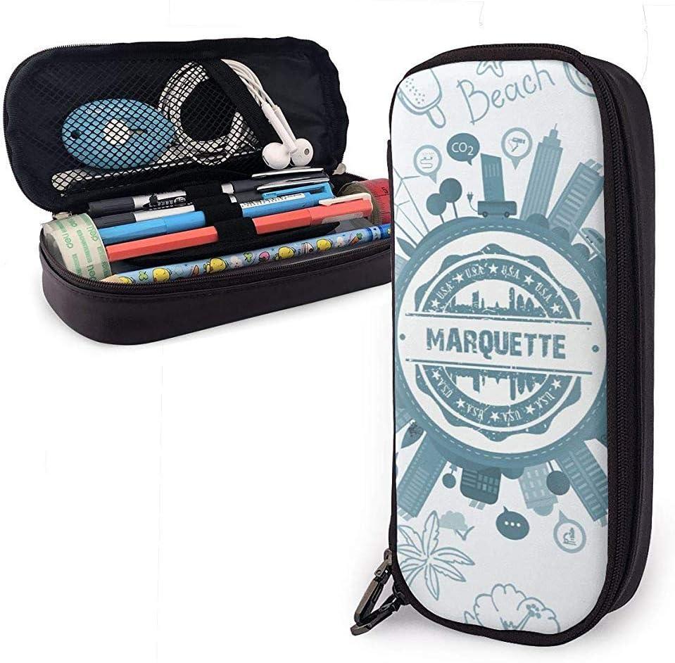 Marquette County Michigan Gran capacidad Funda de lápiz de cuero Lápiz Bolígrafo Papelería Organizador Organizador Maquillaje escolar Bolso cosmético portátil