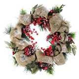 Northlight 18'' Snow Dusted Country Rustic Artificial Christmas Wreath with Berries and Pine Cones - Unlit