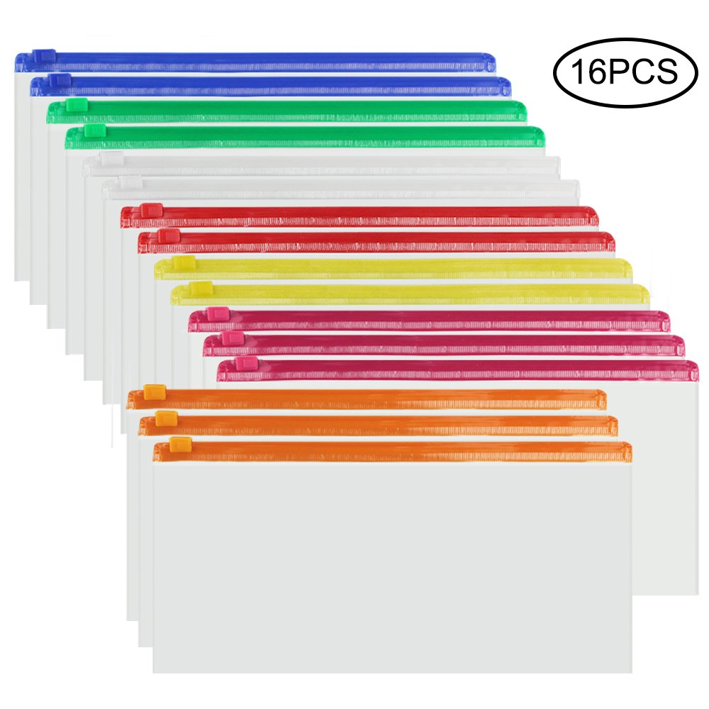 JPSOR 16pcs 7 Color Poly Zip Envelope File Bag Bill Bag Pencil Case, 9''x 4.7'' (Multi-Color) (7 Color)