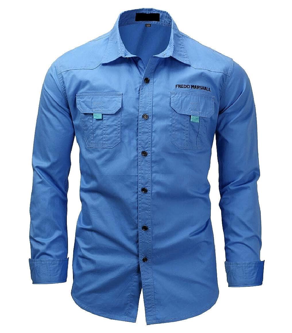 ouxiuli Mens Cotton Dress Shirts Loose Long Sleeve Button Down Tops