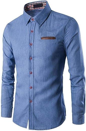 HX fashion Camisa De Mezclilla para Hombres Camisa De Mezclilla Ajustada Tamaños Cómodos Camisa De Mezclilla para Hombres Camisa De Mezclilla Elástica con Bolsillo En El Pecho Ropa: Amazon.es: Ropa y accesorios