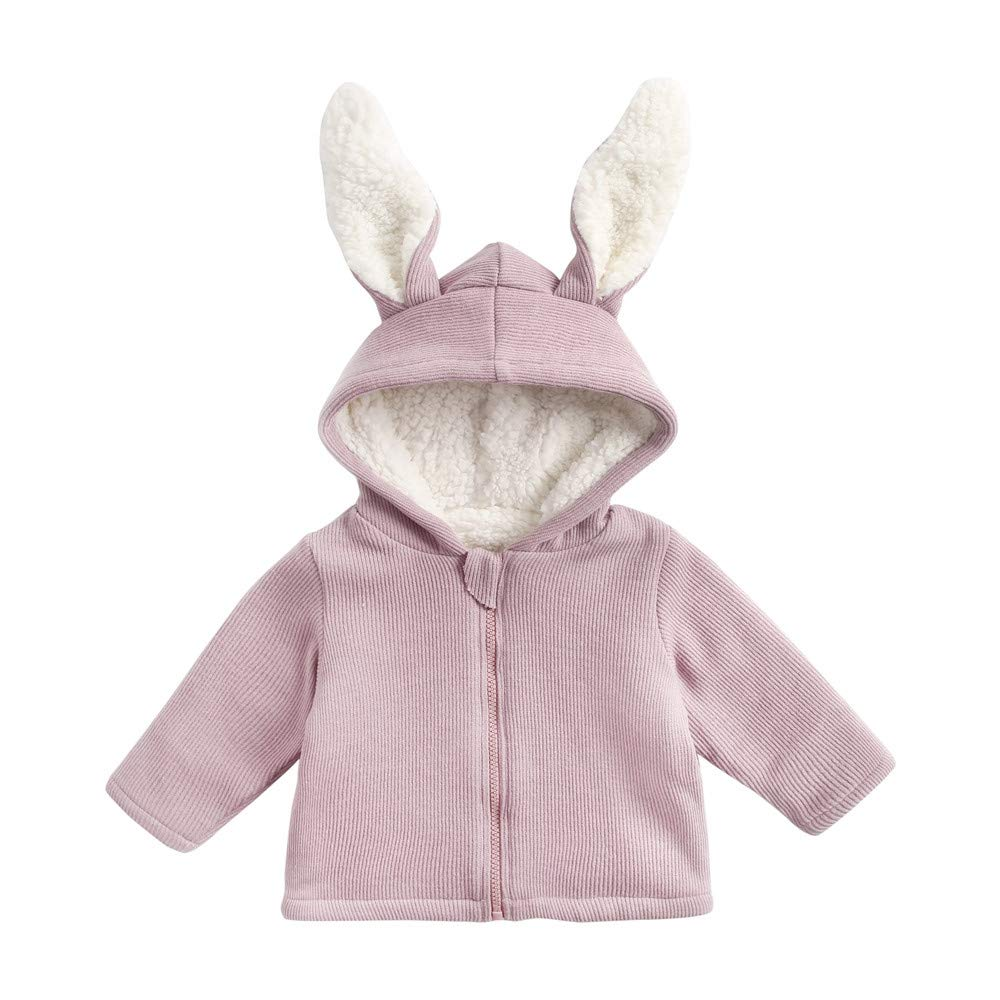 POIUDE Girl Clothes Baby Long Sleeve Plus Velvet Thick Rabbit Ears Hooded Keep Warm Wadded Jacket POIUDE-baby clothes