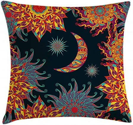 Ambesonne Sun and Moon Throw Pillow Cushion Cover, Tropical Floral Swirls Ornate Sky Elements Curly Exotic Galaxy Representation, Decorative Square Accent Pillow Case, 24 X 24 , Multicolor