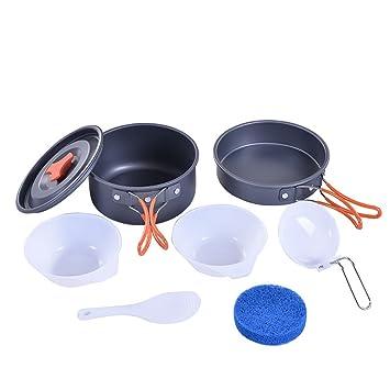 Juego de mini ollas de cocina portátiles para exteriores, para camping, cocina, tetera, café, ollas y sartenes de picnic: Amazon.es: Hogar