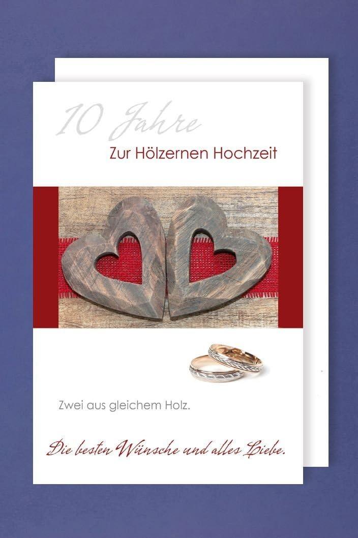 Holzerne Hochzeit Grusskarte Hochzeitstag 10 Jahre Zwei Holzerne Herzen Ringe 16x11cm Amazon De Kuche Haushalt