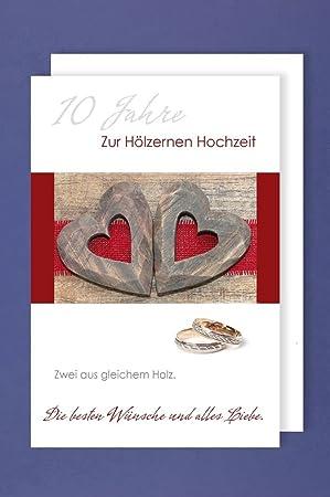 Mariage En Bois Carte De Vœux Anniversaire De Mariage 10 Ans