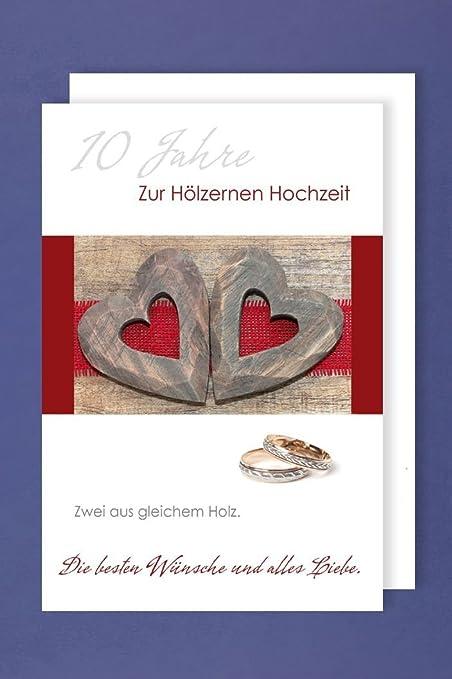 Anniversario Matrimonio Dieci Anni.Legno Matrimonio Biglietto D Auguri Anniversario 10 Anni Due