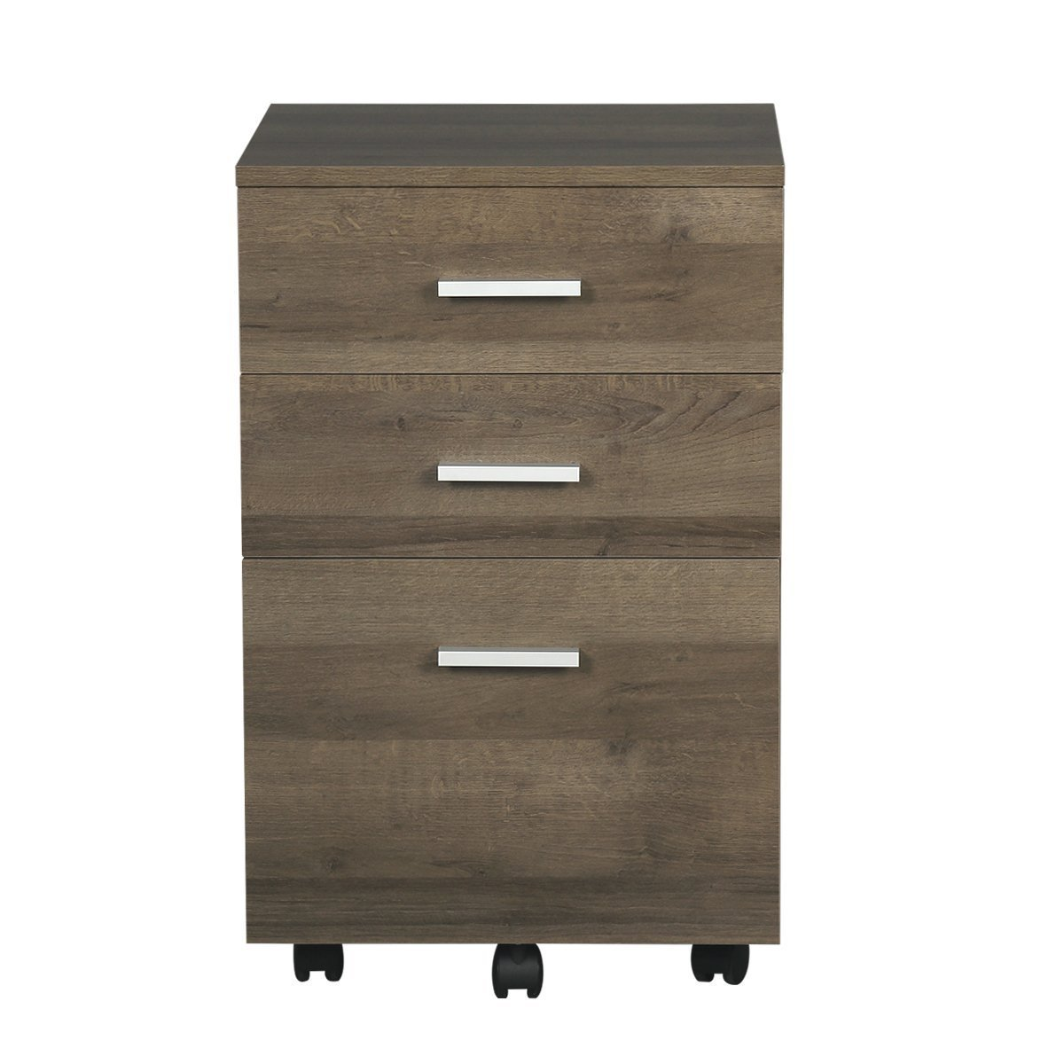DEVAISE 3 Drawer Lateral Wood Mobile Filing Cabinet, Letter Size /A4, Gray Oak