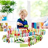 LEO & FRIENDS Natural Wooden Dominoes Set for Kids, Animals Trees Flower and Grass Letters Building Blocks,Racing Tile…