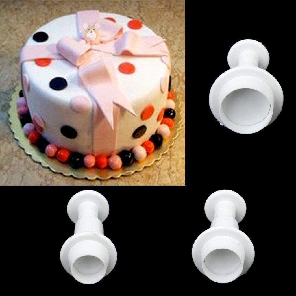 NiceButy 3pcs//Set Rotonda Fondant Cake Plunger Cutters Cookie Mold Set Strumenti Bianco /£ /©