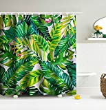 Get Orange Green banana Leaves Decor With Stylish Floral Graphic Illustrated Art ,WATERPROOF and Mold shower curtain 72W X 72 InchesBathroom Accessories (brightness Leaves)