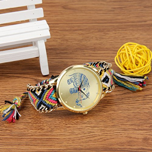 Round Dial Elephant Pattern Fashion Women Quartz Watch With Colorful Hand-woven Rope Band (SKU : S-WA-0622A) by Dig dog bone (Image #3)