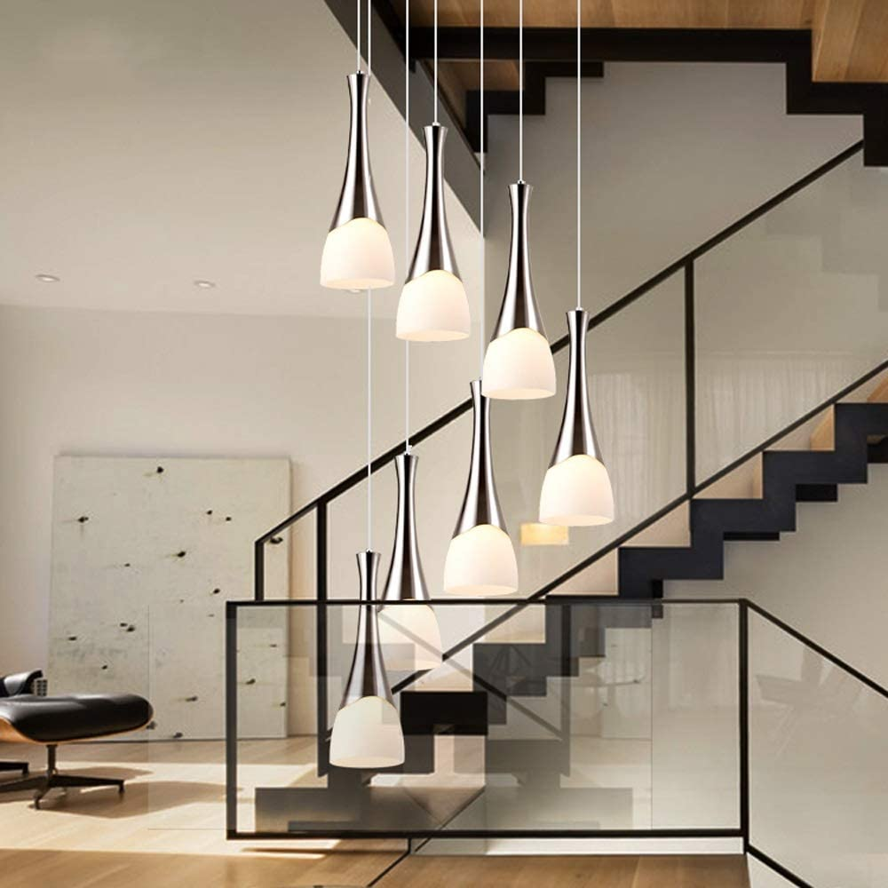 Moderno Minimalista Escalera de caracol Araña larga Araña creativa Hotel Villa Escalera Bola de cristal Candelabro simple Sala de estar Comedor Candelabro de 8 luces, 10 luces (Size : 8-Lights) : Amazon.es: Hogar