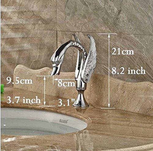 GOWE Polished Chrome Widespread Swan Basin Sink Faucet Deck Mount Dual Handles Mixer Taps 5