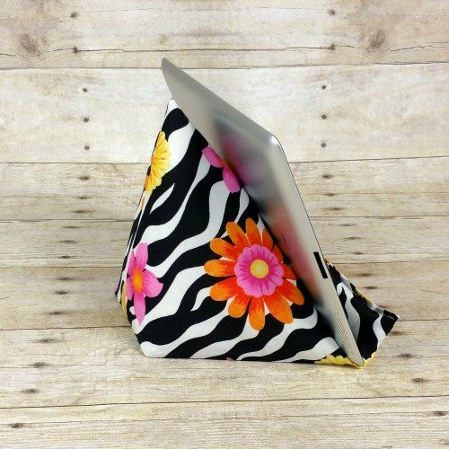 IPad Tablet Stand ~ Kindle Stand for Mom ~ Gift for Boss ~ Girly Desk Accessories ~ Coworker Gift ~ Black & White Zebra Print Fabric