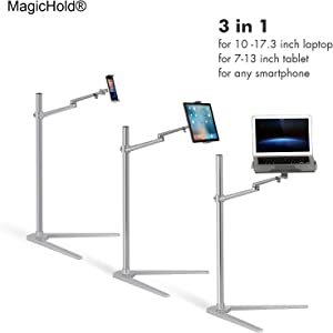 "MagicHold 3 in 1 360º Rotating Height Adjusting Laptop Stand/ Ipad Pro 12.9""/iPAD iPAD mini / Tablet Bed floor Stand for Laptop(13-15.6 inch)"