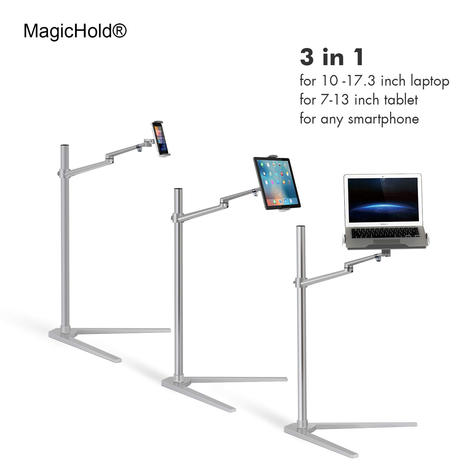 MagicHold 3 in 1 360º Rotating Height Adjusting Laptop Stand/ Ipad Pro 12.9''/iPAD iPAD mini / Tablet Bed floor Stand for Laptop(13-15.6 inch) by Nexstand