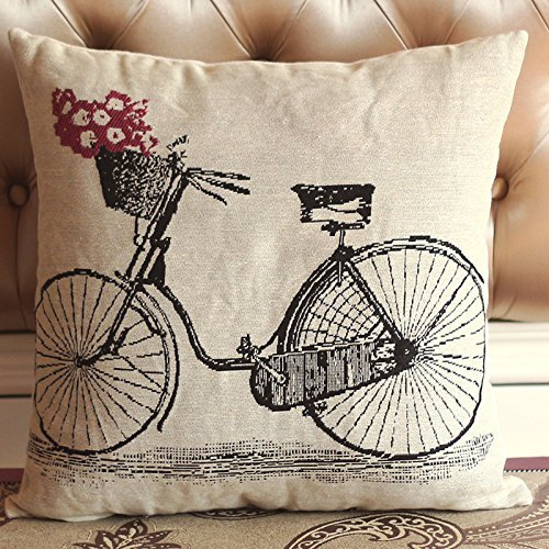Mina-shop bicycle background Decorative Handmade Solid Cotton Throw Pillow Covers /Pillow Shams,one side print,18×18 inch