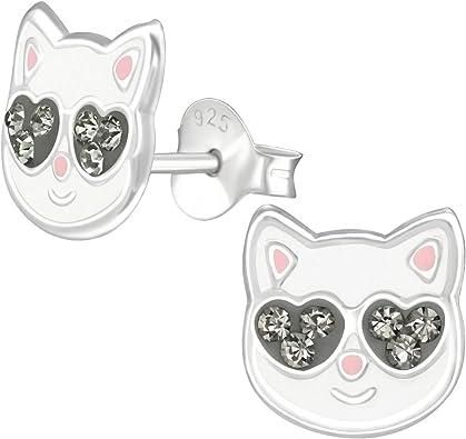 boucle d'oreille enfant argent chat