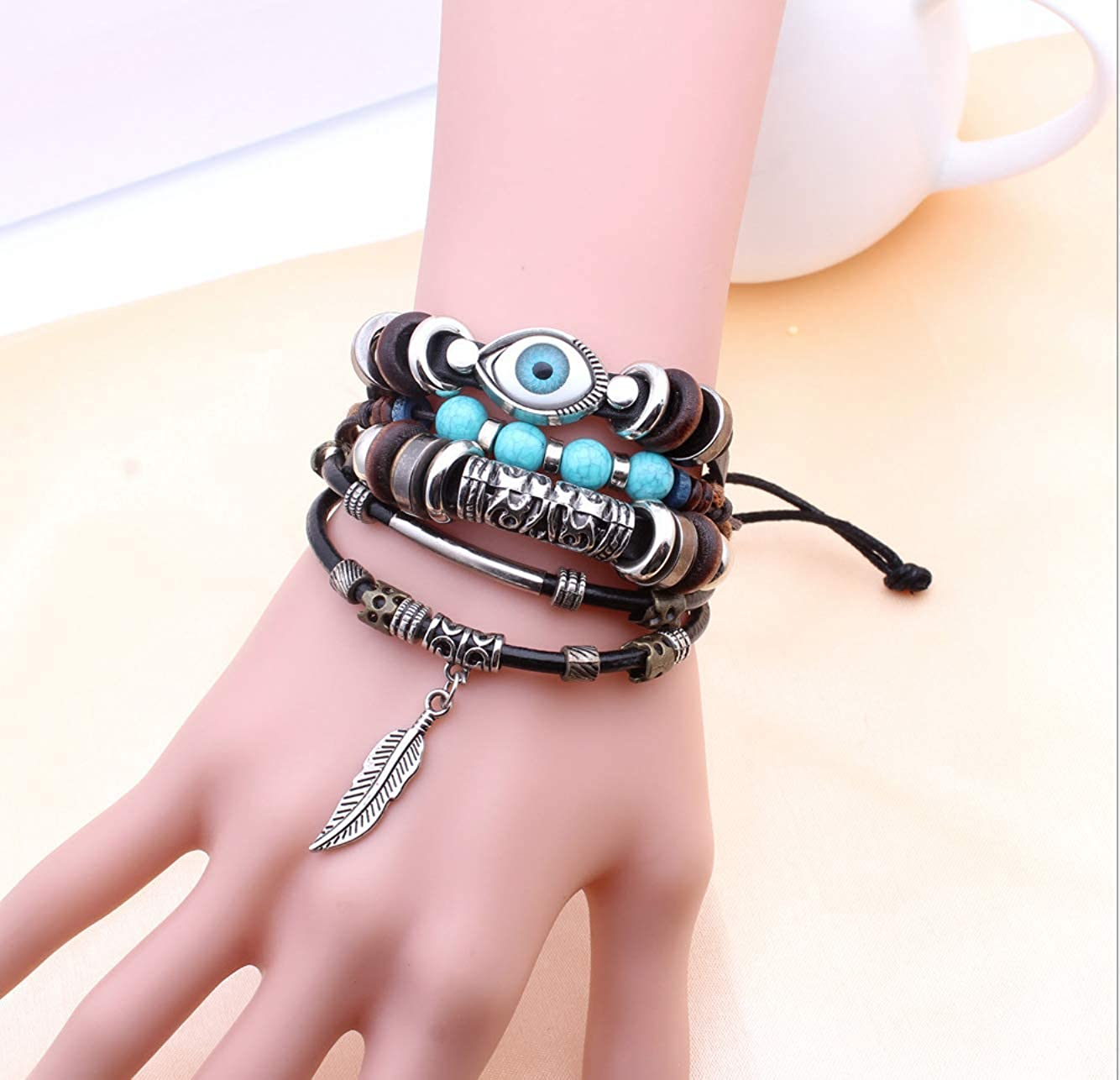 Kiki Leather Wrap Bracelet Handmade Adjustable Wristband for Men or Women Multilayer Cuff Accessory with snap Clasp