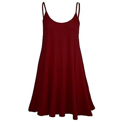 Women's Sleeveless Plain Strappy Floaty Flared Swing Dress Long Top: Clothing