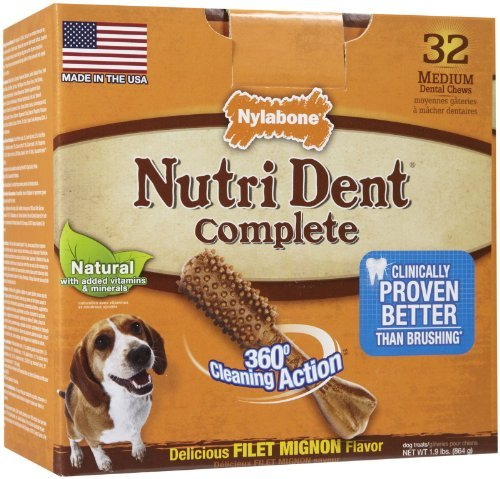 Nylabone Nutri Dent Complete Medium Filet Mignon Flavored Dog Treat Bone, 32 Count by Nylabone by Nylabone (Image #1)