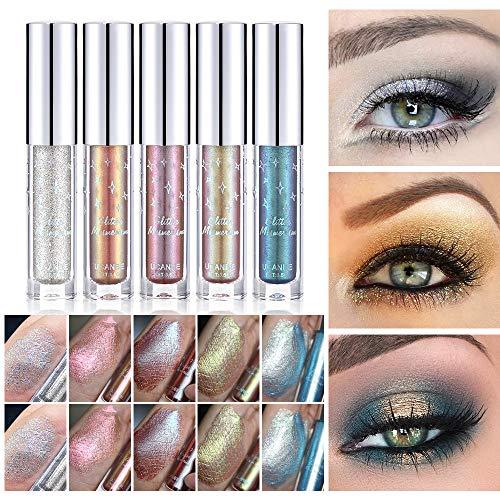 UCANBE Shimmer Eyeshadow Set Metallic Liquid Glitter Eye Shadow Pigment Face Lips Party Festival Eye Glow Makeup Waterproof Sparking Eyeliner Set (Liquid Eyeshadow Set)