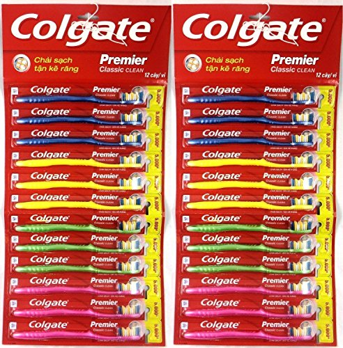 Colgate Toothbrush Premier Classic Clean Medium (Pack of 24) (Brush color and style may vary)