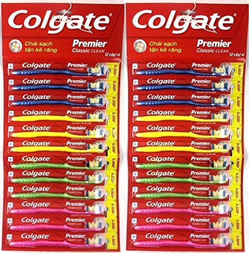 Colgate Toothbrush Premier Classic Clean Medium (Pack of 24) (Colgate Classic Toothpaste)