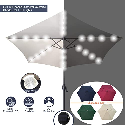 Casualstay 9 Patio Umbrella Outdoor Solar Umbrella with 24 LED Lights Stripe -Crank Tilt Function for Garden, Lawn Backyard Pool White