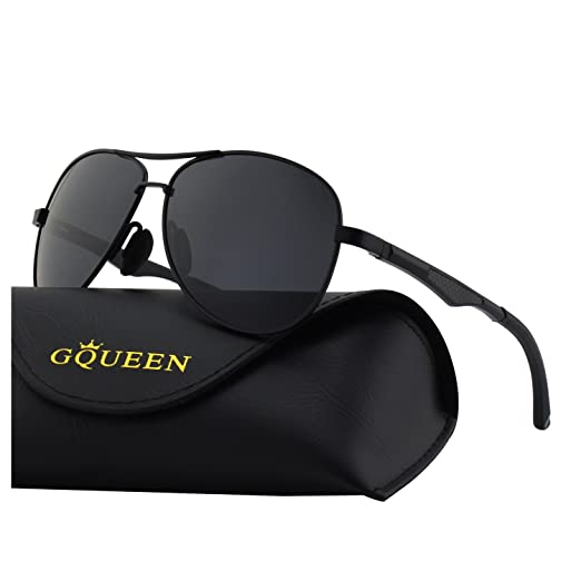 bd4210e814302 Image Unavailable. Image not available for. Color  GQUEEN Classic Premium Military  Style Pilot Polarized Sunglasses Spring Hinges ...