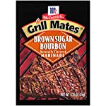 McCormick Grill Mates Brown Sugar Bourbon Seasoning, 13.5 oz 15 Distinctive sweet and spicy blend of brown sugar, bourbon, garlic, onion and salt PREP TIP: Just add 1 tbsp. of our Brown Sugar Bourbon Seasoning per 1 lb. of meat for a juicy, mouthwatering meal No MSG or artificial flavors added
