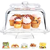 Home Essentials 01346 Home Essentials Square 6-in1 Cake Stand & Serving Platter, , Clear