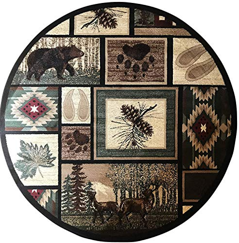 (Carpet King Cabin Style Round Area Rug Rustic Western Country Bear Elk Deer Bear Wildlife Lodge Native Design 386 (4 Feet X 4 Feet))