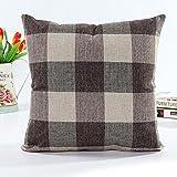 Pillowcase, Zulmaliu Lattice Pillow Cases Geometric Embroidered 18 X 18 Inches (Coffee)