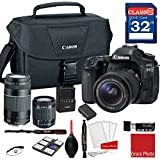 Canon EOS 80D DSLR Camera w/EF-S 18-55mm f/3.5-5.6 IS STM and EF 75-300mm f/4-5.6 III Lenses + 32GB Memory + Canon Camera Case + More